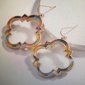 Multi-Color Acrylic Quatrefoil Statement Earrings